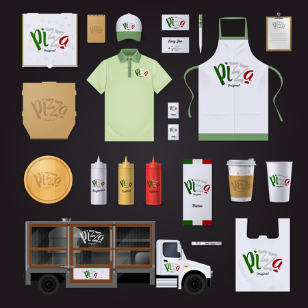national identity: Italian pizza restaurants chain corporate identity templates in national flag colors collection on black background vector illustration