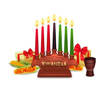 African Americans Kwanzaa Urlaub Symbole Zusammensetzung Plakat mit Kerzen Halter traditionellen Geschenke Mais Ohren und Farben Vektor-Illustration