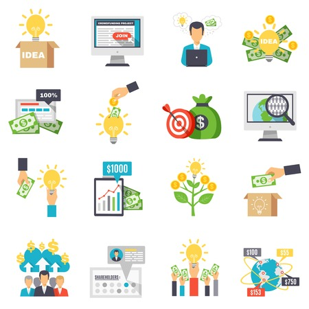 initiator: Crowdfunding decorative icons set with business idea sponsors groups box for donations isolated signs flat vector illustration