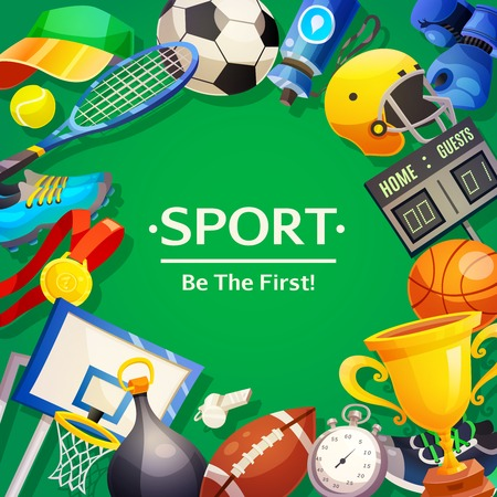 Colorful poster on sport theme with wishing to be first and set of inventory items on green background  flat vector illustration