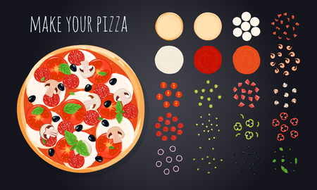 Pizza create decorative icons set with round pizza image and vegetable slices bunch of cooking ingredients vector illustration