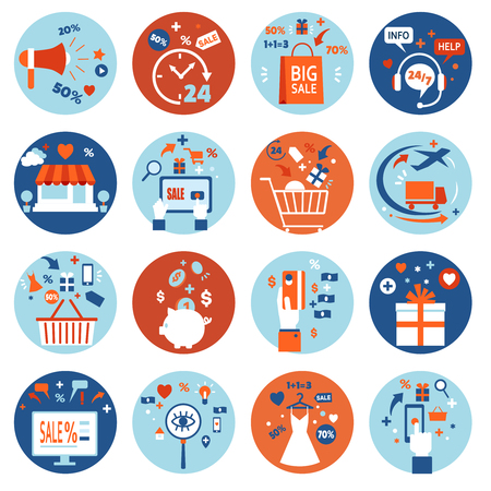 home shopping: E-commerce online shopping set of colorful flat icons and elements in circles isolated vector illustration Illustration