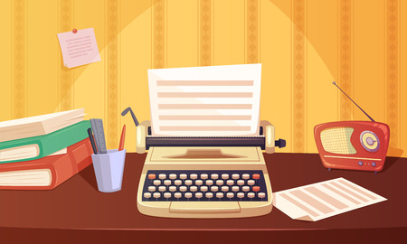 classic authors: Retro gadgets cartoon background with typewriter radio books stationery on brown table vector illustration