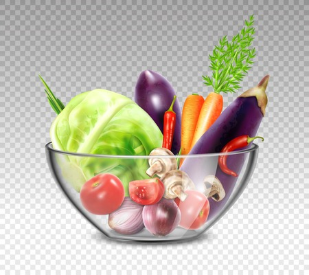 Colorful still life painting with vegetables in glass bowl on transparent background in realistic style vector illustration Illustration