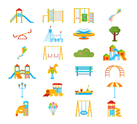 Childrens playground flat isolated elements in cartoon style with slippery dip ladder seesaw gym wall bars vector illustration