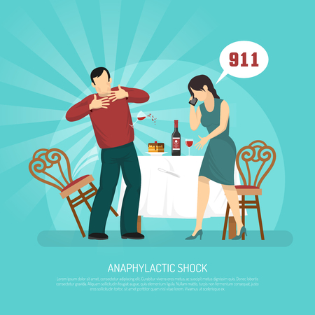Allergy flat  vector illustration with man experiencing anaphylactic shock and woman calling emergency assistance