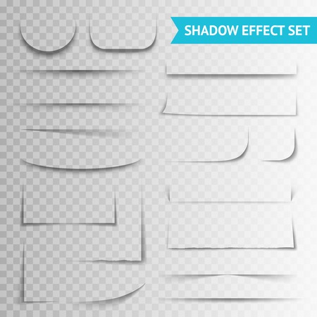 White blank paper cuts circle oval square rectangle with shadow and transparent effects realistic set vector illustration Illustration