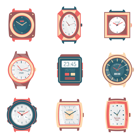 fashion collection: Different men and women watches icons collection with digital quartz sport and fashion types flat isolated vector illustration