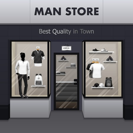 store display: Mens sportswear workout and outdoor active wear best quality fashionable clothes store window display street view vector illustration Illustration