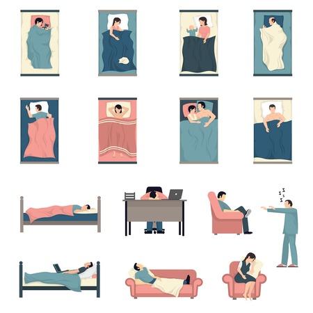 Las personas que duermen en la cama con los niños gatos juntos y al iconos planos mesa de trabajo establece la ilustración del vector aislado