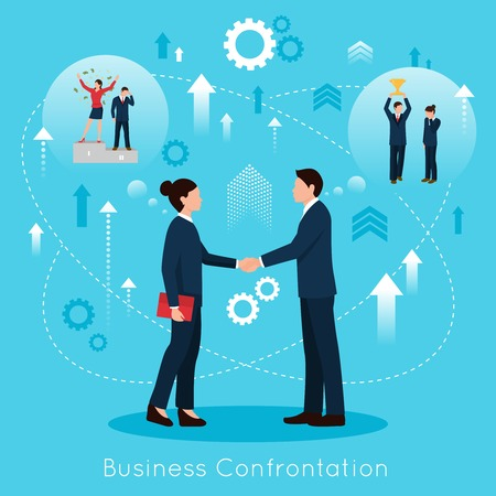 constructive: Constructive business confrontation for productive partnership concept flat symbolic composition poster with agreement handshake vector illustration