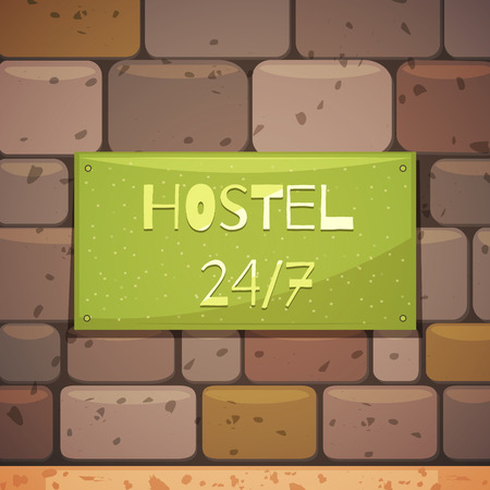 Hostel signboard with address on brick wall of guest house retro background flat vector illustration