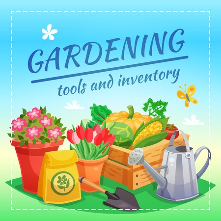 handcart: Gardening tools and inventory design concept with package of fertilizer box of farming harvest spade and watering can flat vector illustration Illustration