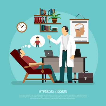 Flat vector illustration of medical room with patient relaxing in chair and psychologist performing hypnosis session Ilustracja