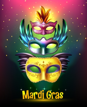masquerade masks: Masquerade background poster with realistic set of glossy carnival masks with wings stellar background and title vector illustration Illustration