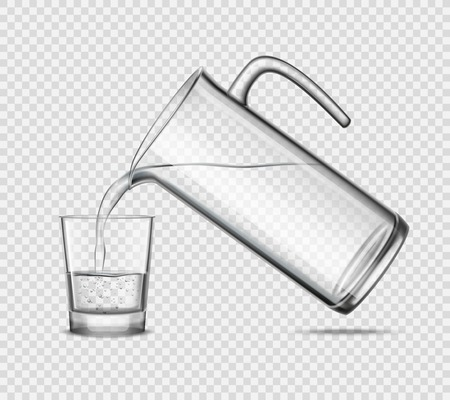 grey water: Pouring water in glass from jug design concept on transparent background grey realistic vector illustration