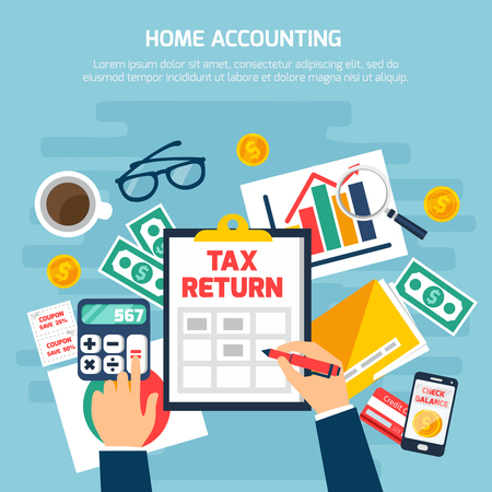 Home accounting composition with money and finance symbols on blue background flat vector illustration