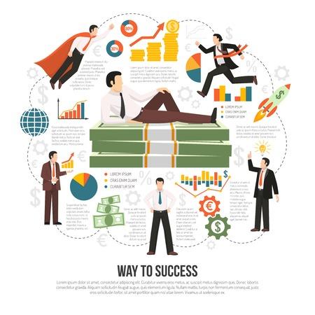 factors: Profitable business success key factors flat infographic composition poster with text diagrams businessman and money symbols vector illustration