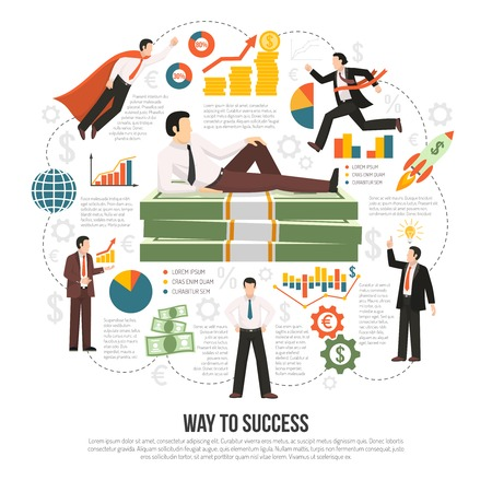 Profitable business success key factors flat infographic composition poster with text diagrams businessman and money symbols vector illustration