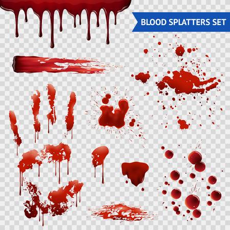 Bloedspatten realistische bloedvlekken patronen set van uitstrijkjes spatten drippings druppels en handafdruk met transparante achtergrond vector illustratie Stock Illustratie