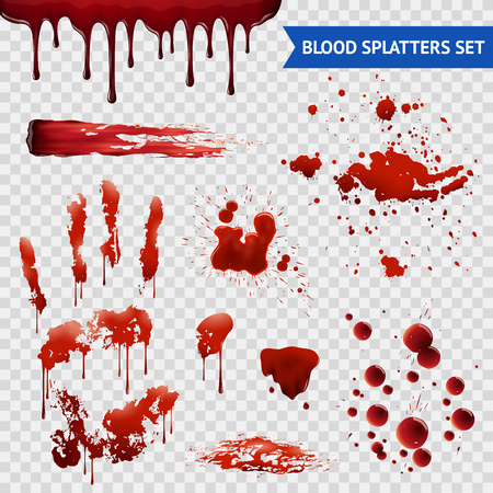 spatters: Blood spatters realistic bloodstains patterns set of smears splashes drippings drops and handprint with transparent background vector illustration