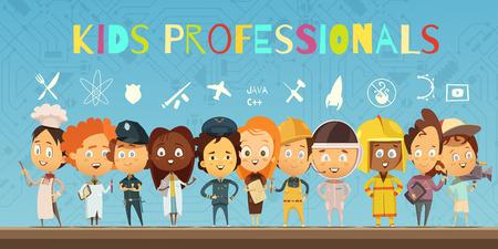 profesiones: Composición de dibujos animados plana con un grupo de niños que usan trajes de los profesionales y los iconos que indican ilustración vectorial de bús profesión