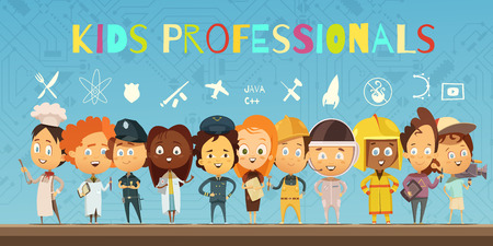 Flat cartoon composition with group of children wearing in costumes of professionals and icons indicating earch profession vector illustration
