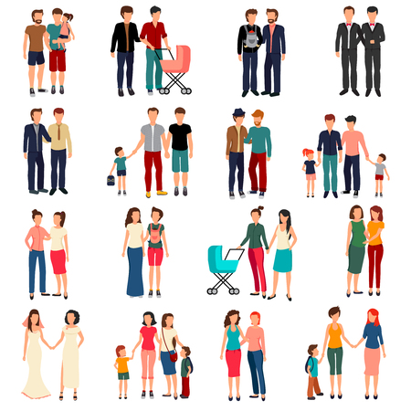 homosexual: Flat set of male and female homosexual couples and families with children isolated on white background vector illustration