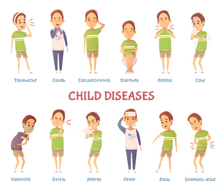 Set of isolated cartoon boy character suffering from different symptoms with text captions describing disease kind vector illustration