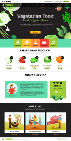 sites: Best organic farm eco food shop of vegetarian products web page flat vector illustration