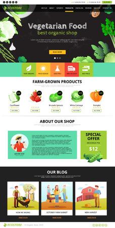 Miglior Organic Farm negozio di alimentari a basso impatto di prodotti vegetariani pagina web illustrazione vettoriale piatta