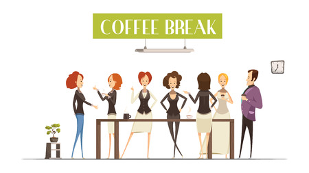 break in: Cheerful women and man near brown table during communication in coffee break cartoon style vector illustration