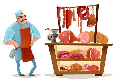 Slager en vleesmarkt cartoonconcept met worstjes geïsoleerde vectorillustratie