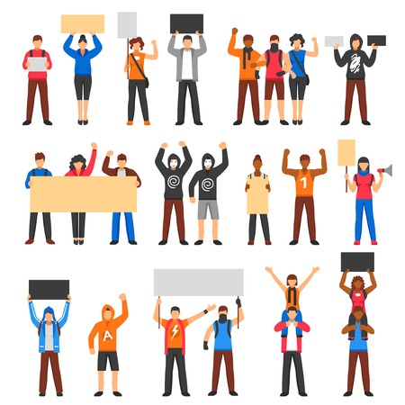 a group of people protesting: Cheering protesting crowd holding banners flat set isolated on white background vector illustration