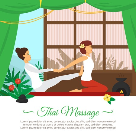 masseuse: Flat design healthcare and thai massage session vector illustration