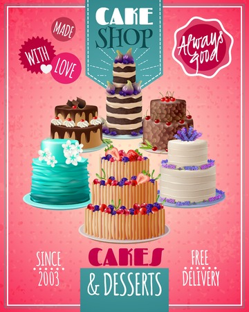 chocolate cakes: Baked cakes cartoon poster with fruit and chocolate cakes vector illustration