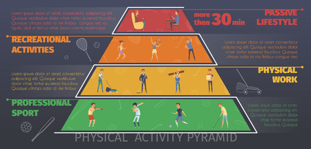 recreational: Active lifestyle colorful infographics with pyramid style conceptual layers of physical work and recreational sport activities vector illustration