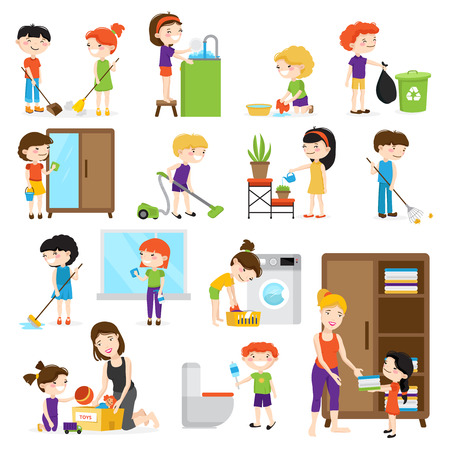 Colorful cartoon set with kids cleaning rooms and helping their mums isolated on white background vector illustration