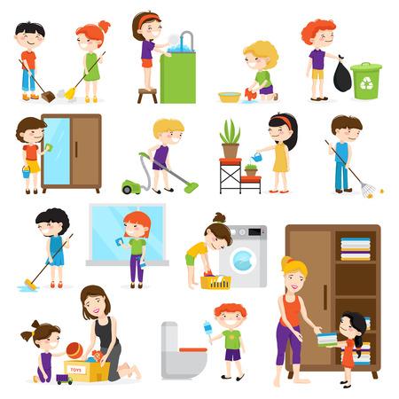 Kolorowy zestaw z kreskówki dla dzieci sprzątanie pokoi i pomagają swoim mamom samodzielnie na białym tle ilustracji wektorowych