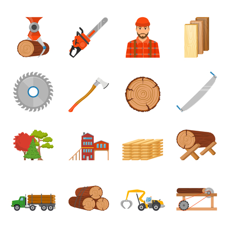 Sawmill timber flat isolated icons set with professional equipment tools and goods images on blank background vector illustration