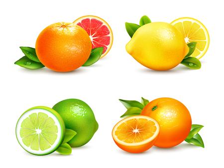 cítricos frescos enteros y mitades de 4 iconos realistas cuadrados con naranja pomelo limón ilustración vectorial