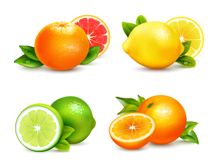 Fresh citrus fruits whole and halves 4 realistic icons square with orange grapefruit lemon isolated vector illustration 版權商用圖片 - 68241092