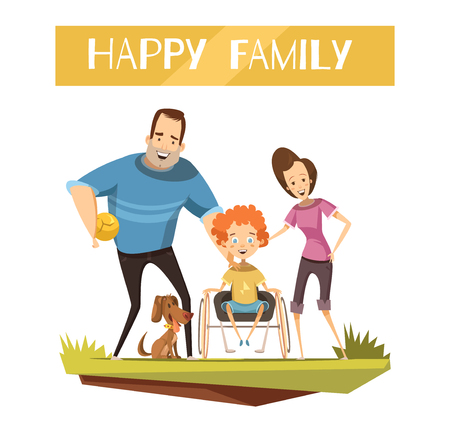 dog wheelchair: Happy family with disabled kid on wheelchair and dog during walk cartoon and retro styles vector illustration