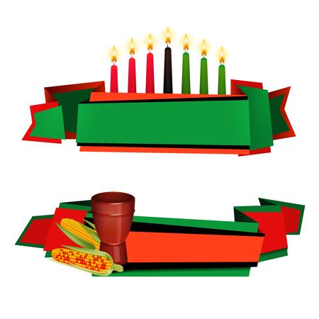 Kwanzaa-Feiern traditionelles rotes Grün färbte 2 horizontale Fahnen mit kinara Kerzen und Nahrung lokalisierte Vektorillustration Vektorgrafik