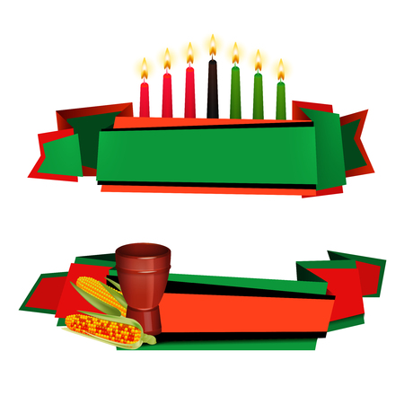 Kwanzaa celebrations traditional red green colored 2 horizontal banners with kinara candles and food isolated vector illustration