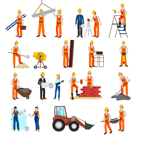 repairs: Flat design repairs construction process builders and equipment set isolated on white background vector illustration