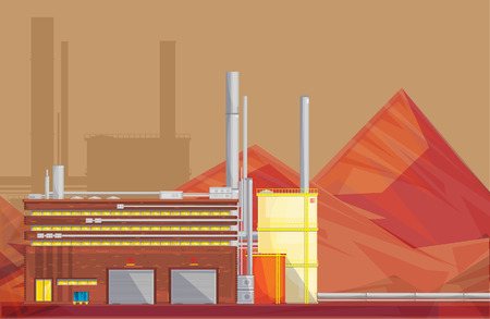 ore: Eco friendly waste management industrial ore processing plant building and mineral waste rocks flat poster vector illustration