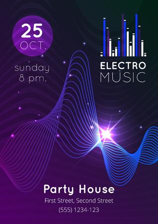Gloeiende electro muziek audio-equalizer partij huis poster flat vector illustratie