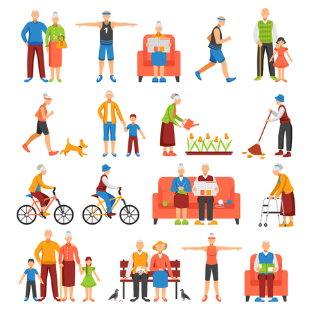 family exercise: Set of isolated senior people and their family faceless characters doing leisure sport or household activities vector illustration