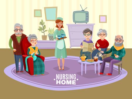 nursing home: Nursing old people home with tea and newspaper flat vector illustration